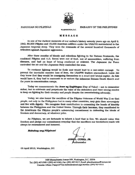 Letter from Jose L. Cuisia, Jr. - Philippines Ambassador