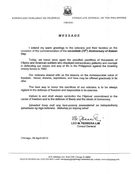 Letter from Leo M. Herrera-Lim - Consul General, Philippines