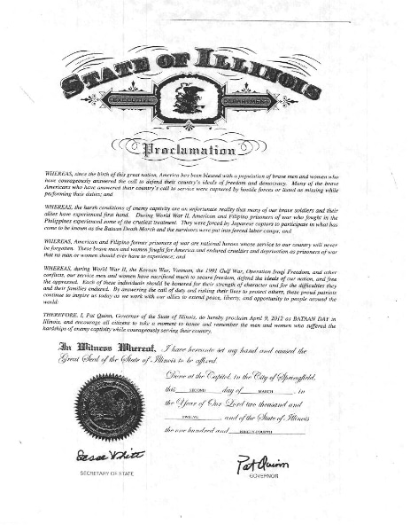 Bataan Day 2012 Proclamation from Illinois Governor Pat Quinn