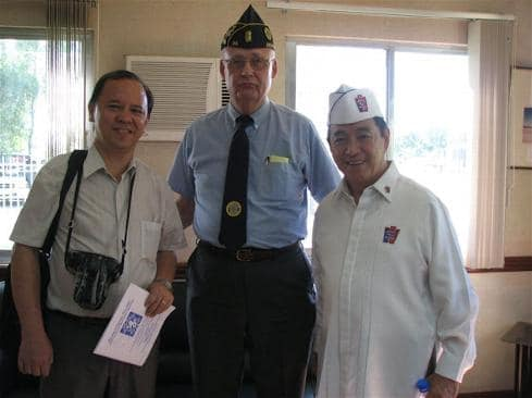 Before the ceremony: Left: Professor Rico Jose, University of the Philippines, WW II authority, holding Maywood Bataan Day 2007 program booklet. Right: Rafael E. Evangelista, Member, Board of Trustees, Defenders of Bataan & Corregidor, Inc.