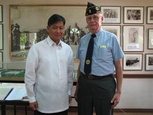 Before the ceremony: Col. McMahon with The Honorable Ernesto G. Carolina, Undersecretary For Civil, Veterans and Reserve Affairs, Head, Multi-Agency Task Force, Philippine Department of National Defense.