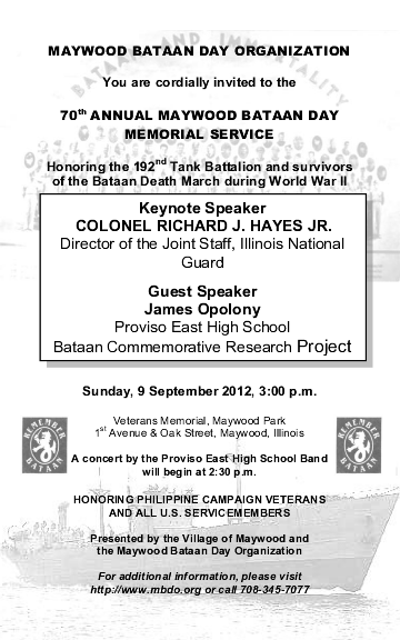 http://mbdo.org - Invitation to the 70th annual Maywood Bataan Day
