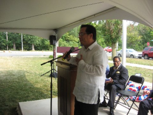 Consul General Leo M. Herrera-Lim speaking at the 71st Maywood Bataan Day Annual Memorial Service. Photo: courtesy of ret. Col. Richard McMahon, President, MBDO