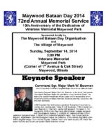 Maywood Bataan Day Organization PROGRAMME INSERT 2014